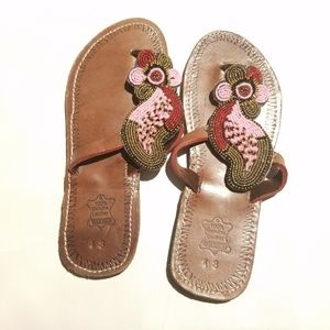 NWT Leather Beaded Summer Slippers/Sandals-sz 13